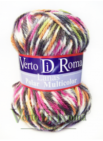 Ovillo Lana Polar Multicolor Rosas Variado