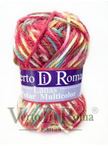Ovillo Lana Polar Multicolor Rosas y Verdes