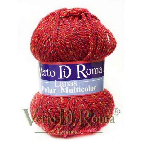 Ovillo Lana Polar Multicolor Rojo Moteado
